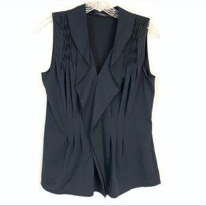 Tahari black pleated sleeveless blouse